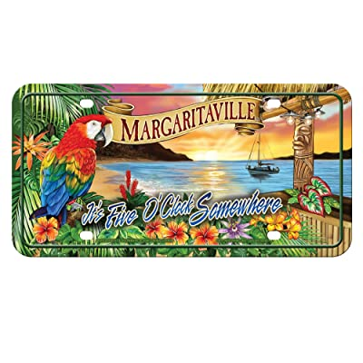 """Rico Industries MTG111128C 5 O'clock Margaritaville Metal License Plate Tag,Blue, Red, Green, Tan,12""""/6"""": Sports & Outdoors"""
