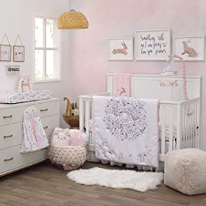 NoJo Woodland Wreath 4 Piece Nursery Crib Bedding Se Comforter, Pink/White/Blue/Green