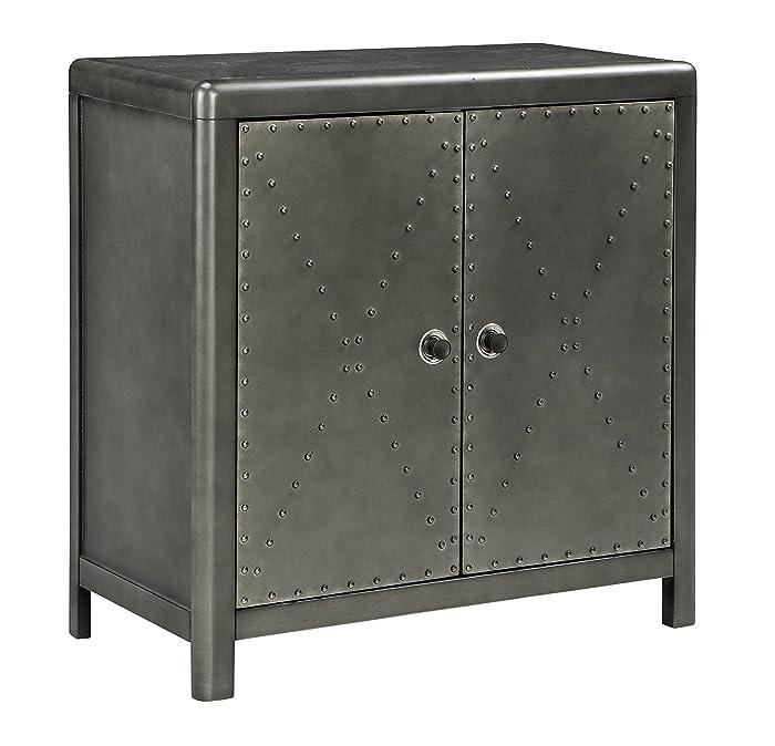 Ashley Furniture Signature Design - Rock Ridge 2-Door Accent Cabinet - Antique Gunmetal Finish - Black Metal Door Pulls - Nailhead Trim