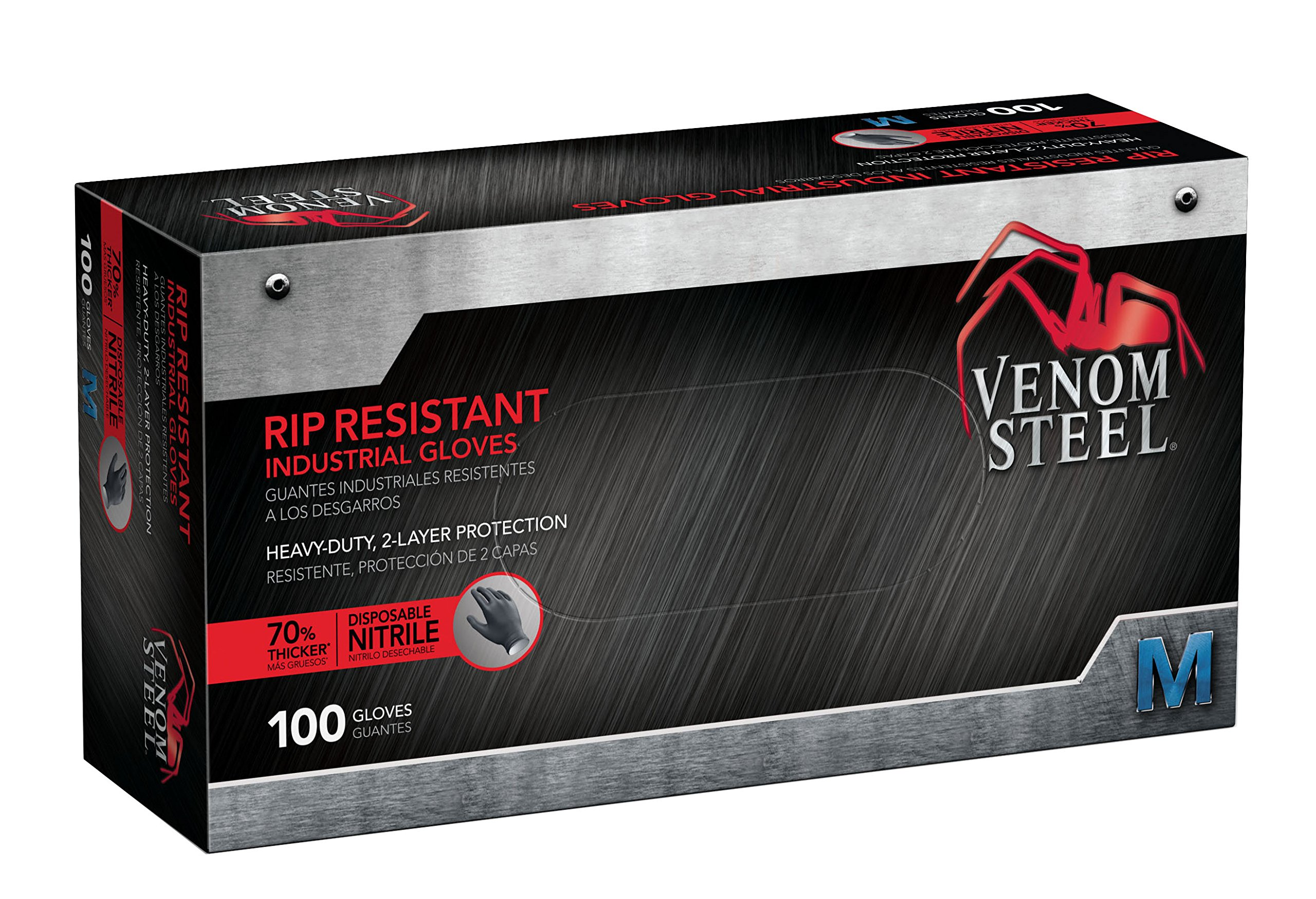 Venom Steel Rip Resistant Industrial Nitrile Gloves 2-Layer,Black White, Latex Rubber Free, Disposable, Medium (Pack of 100)