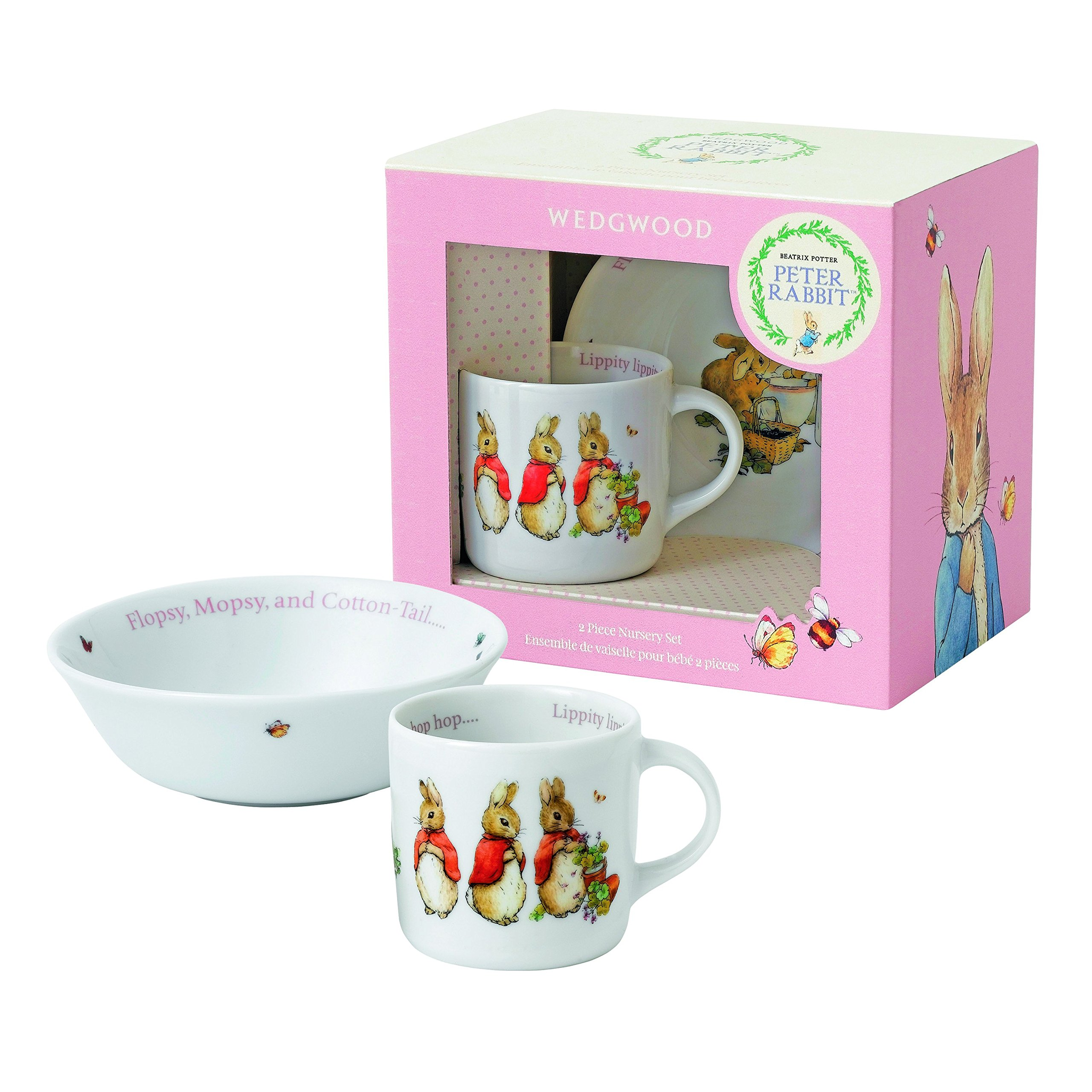 Wedgwood Girl's Peter Rabbit 2-Piece Bowl and Mug Set, White and Pink