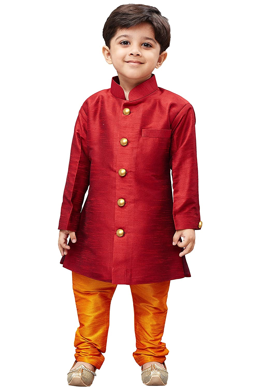 JBN Creation Boys Maroon Silk Blend Sherwani Style Kurta Set VASBKMA006nPOR