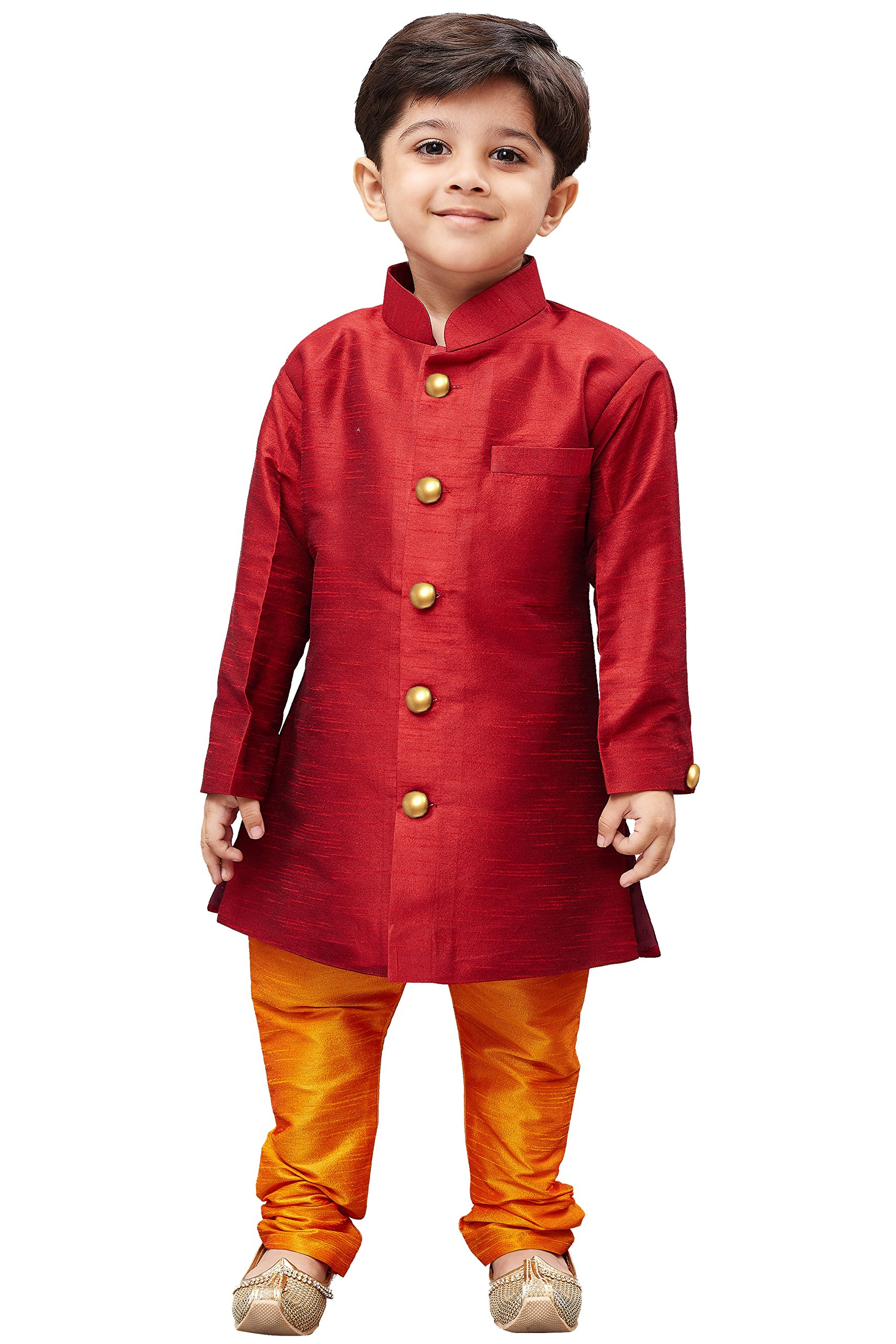JBN Creation Boys' Maroon Silk Blend Sherwani Style Kurta Set(VASBKMA006nPOR_22)