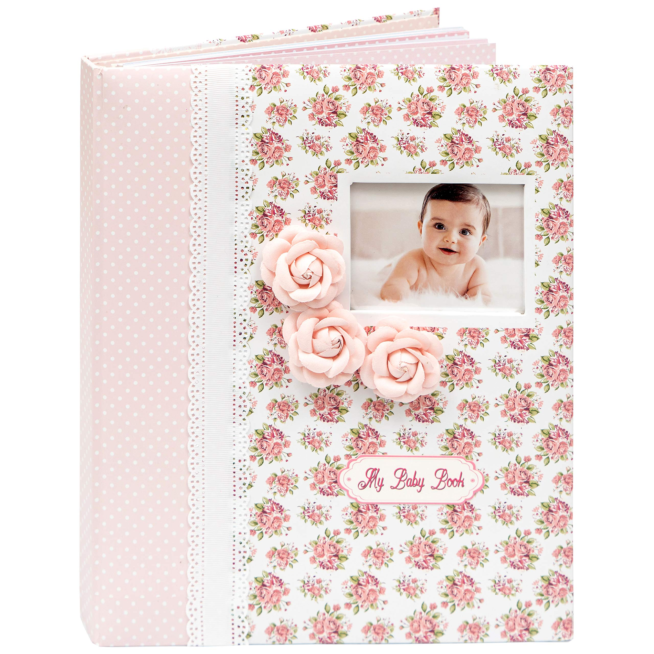 Baby Girl Memory Book First 5 Years, Pink Floral Milestone Journal w. Stickers & Keepsake Box, Great Baby Shower Gift
