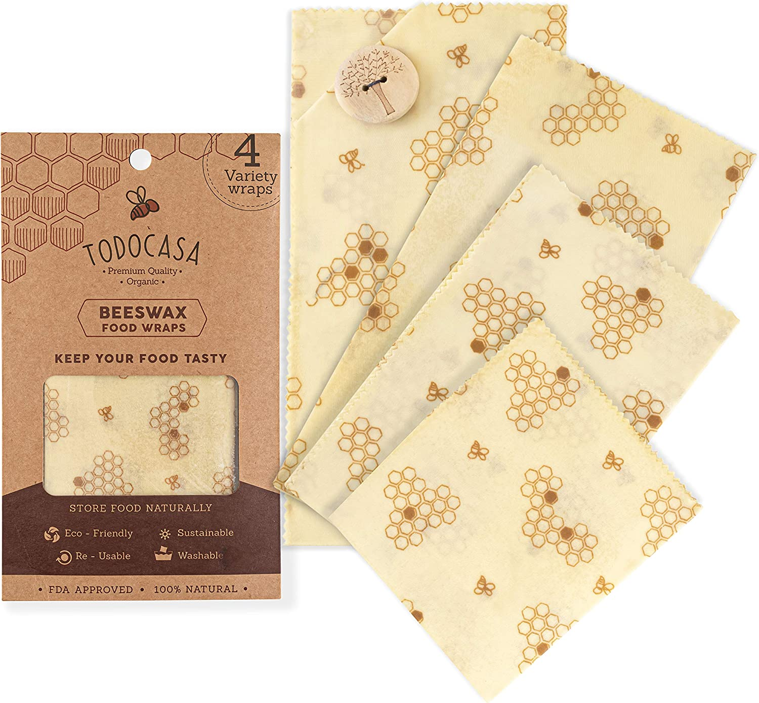 TODOCASA 4 pack Premium Organic Beeswax Food Wrap –Reusable, Eco-Friendly Food Cover, Plastic Free Food & Sandwich Storage, Sustainable, Washable, Compostable, Biodegradable
