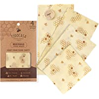 TODOCASA 4 pack Premium Organic Beeswax Food Wrap –Reusable, Eco-Friendly Food Cover, Plastic Free Food & Sandwich…