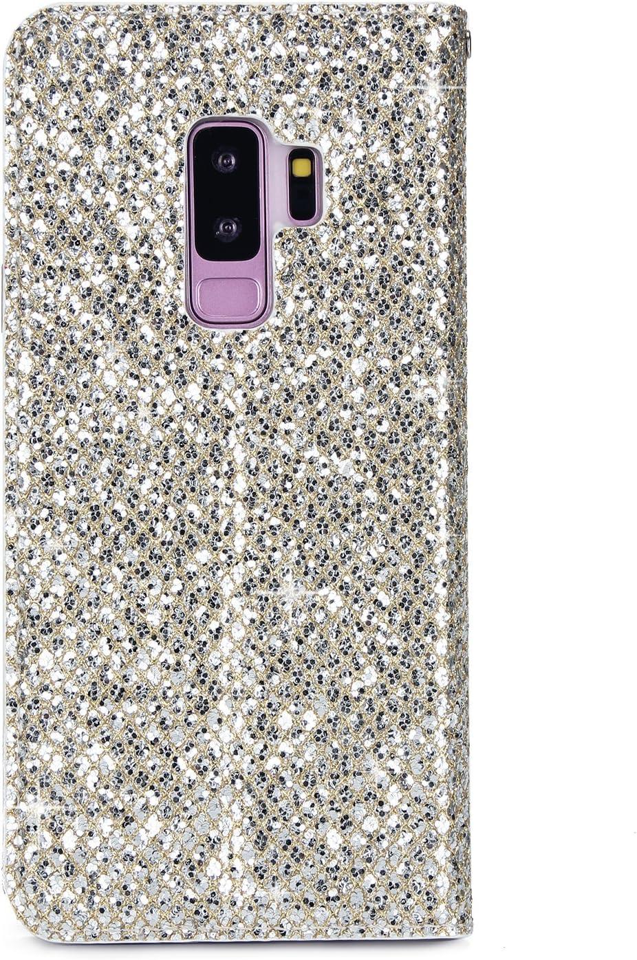Karomenic PU Leder H/ülle kompatibel mit Samsung Galaxy S9 Plus Bling Gl/änzend Glitzer Handyh/ülle Brieftasche TPU Silikon Schutzh/ülle Klapph/ülle Ledertasche St/änder Wallet Flip Case Etui,Rose rot