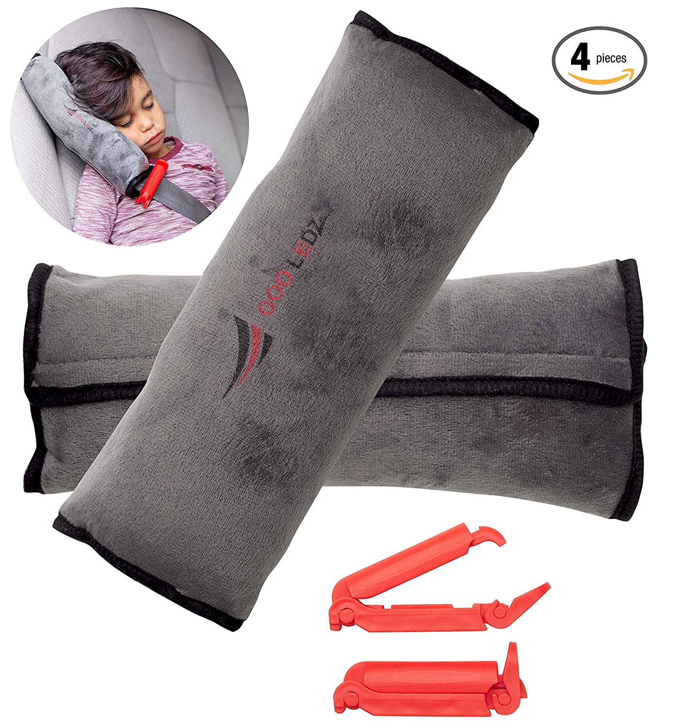 Seatbelt Pillow: 2-Piece Soft Plush Car Seat Belt Cover + 2 Red Seatbelt Clips Set| Safety Belt Protector Pad for Kids|Washable Seatbelt Headrest for Shoulder & Neck Support| Top Gifting Idea Goo Ledz