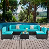 Walsunny 7pcs Patio Outdoor Furniture Sets,Low Back All-Weather Rattan Sectional Sofa with Tea Table&Washable Couch…