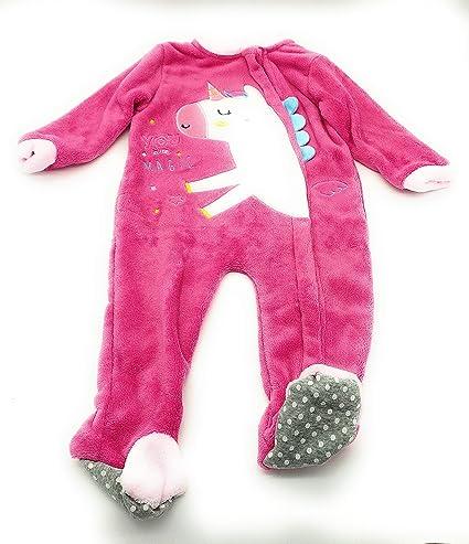 Pijama para beb/é y ni/ños Muy calentito. Tallas de 12 a 36 Meses//Mameluco beb/é//Mono con Patucos Antideslizantes//Pijama Entero de Unicornio para ni/ñas//Pelele Invierno con Apertura Delantera