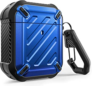 SUPCASE Unicorn Beetle Pro Series Case Designed for Airpods 1 & 2, Full-Body Rugged Protective Case with Carabiner for Apple Airpods 1st & 2nd (Blue)