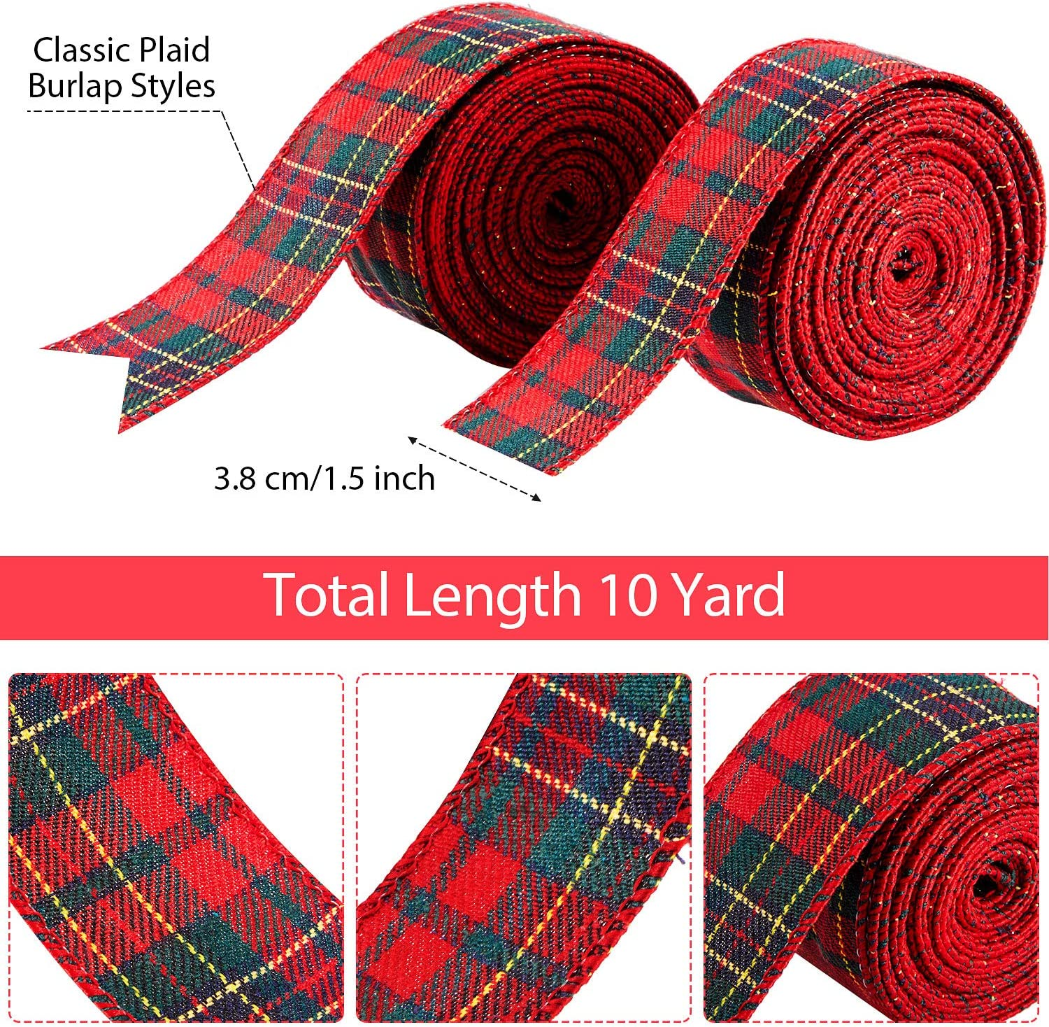 Tea Dye Red Gingham Prim 2 12 Wired Ribbon Christmas Craft Wire Edged Ribbon TWENTY FIVE YARD Roll Red and Beige Teadye Check