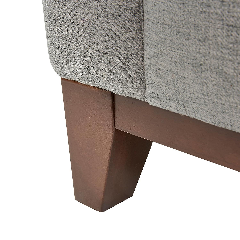 Rivet North End Exposed Wood Modern Loveseat, 59 W, Grey Weave