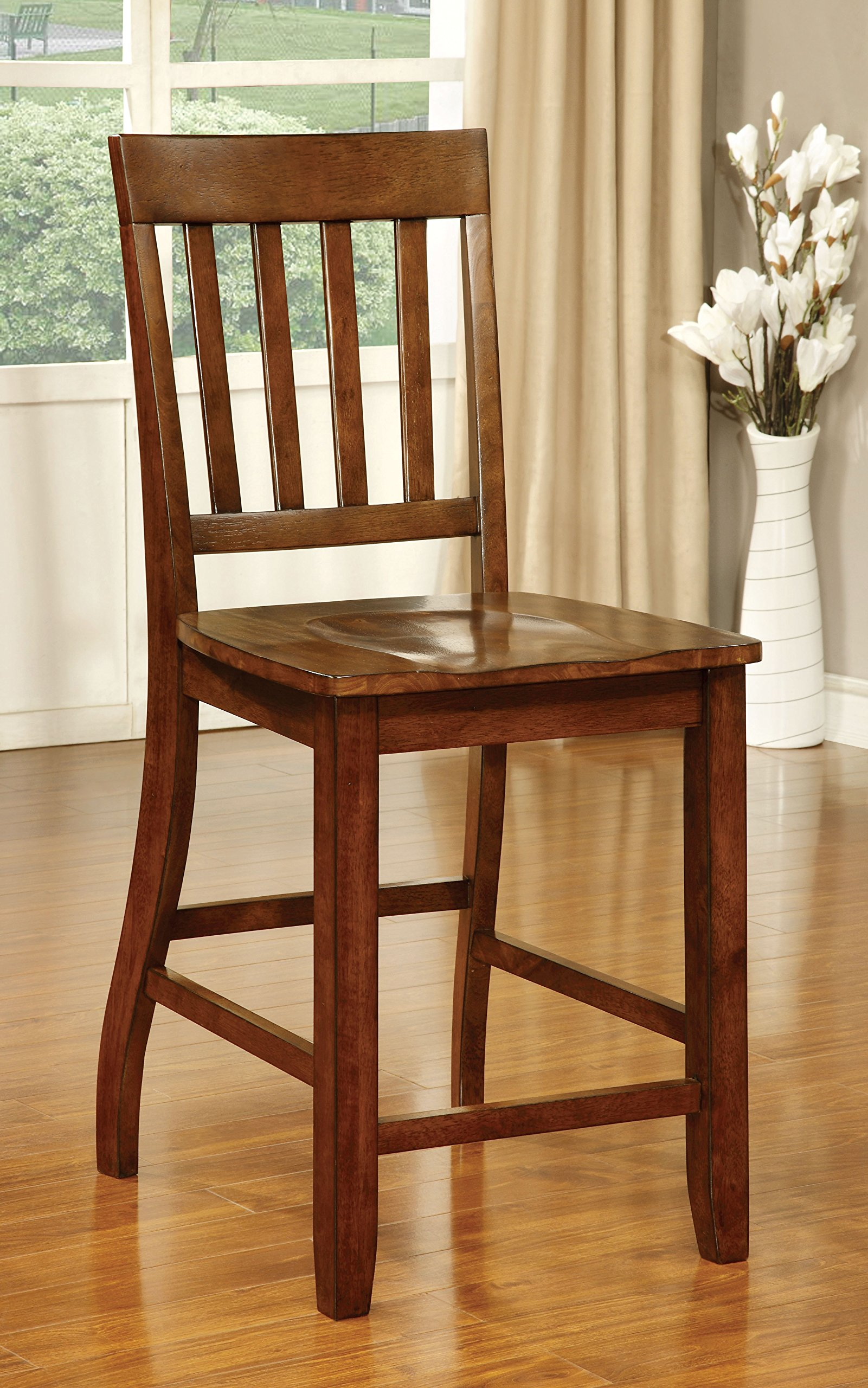Furniture of America Castile Transitional Pub Chair, Dark Oak, Set of 2