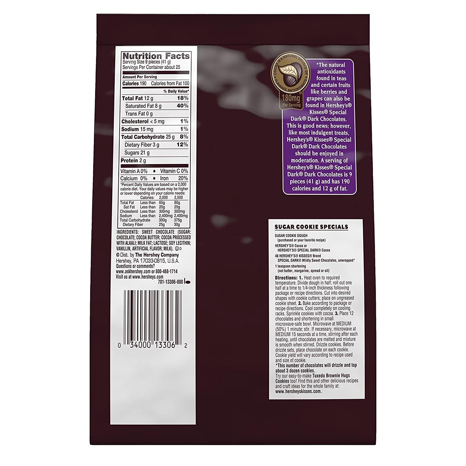 Amazon.com : HERSHEY'S KISSES SPECIAL DARK Chocolate Candy, Mildly ...