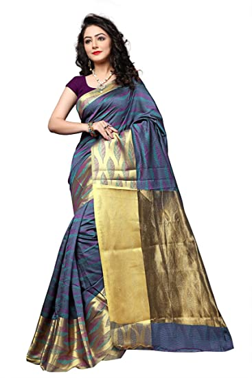 a022a5486f Pemal Designer Banarasi Cotton Silk Weaving Saree With Running Blouse Pics  (Multi-Coloured, RJM1133C, Free Size): Amazon.in: Clothing & Accessories