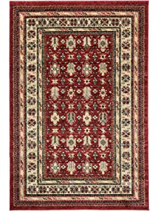 Aspect Tapis Persan Classique Mashad bordeaban Traditionnelle Rojo-Negro-Beige/, Polypropylène, Red, Black and Beige, 120 x 170 cm