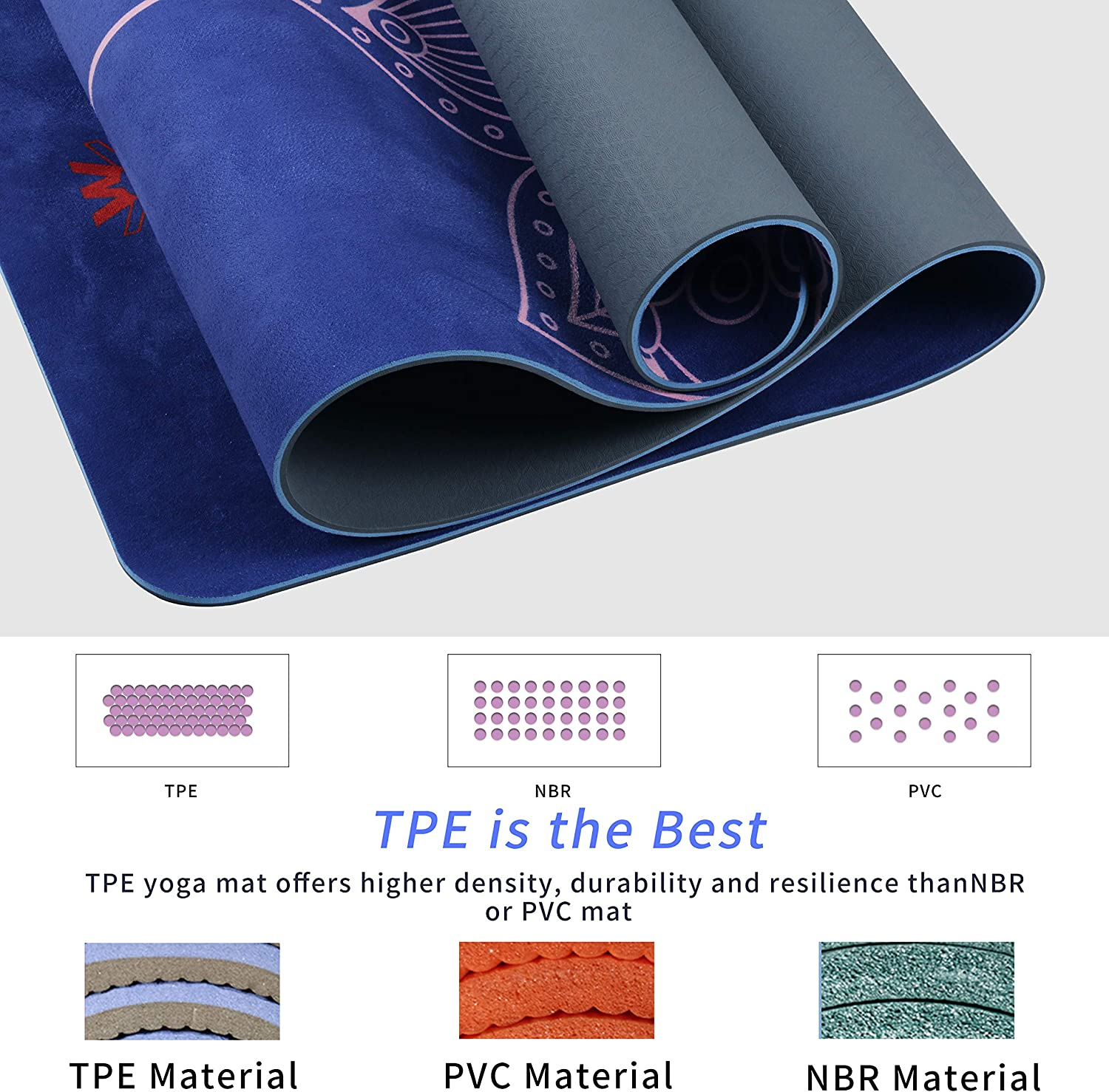 WWWW 4W Suede TPE Yoga Mat Eco Friendly Non Slip Yoga Mats with Carrying Strap and Bag 72x 24 Extra Thick 1//4 Exercise /& Workout Mat for Yoga Pilates Home Fitness