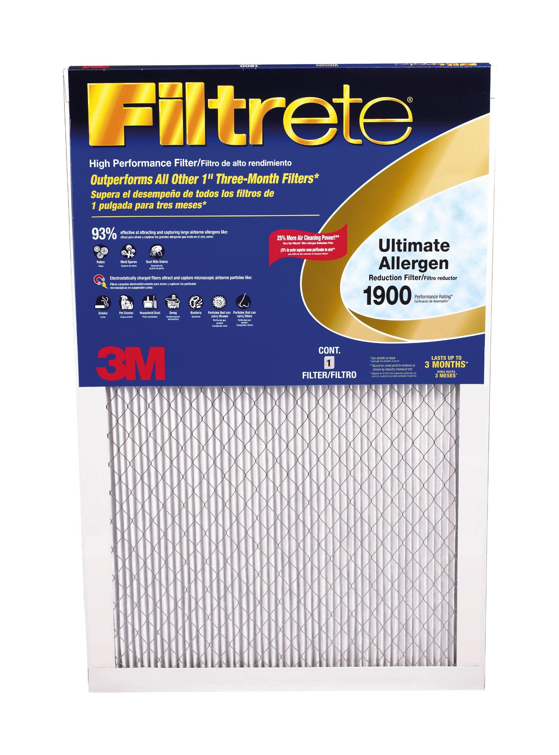 Filtrete MPR 1900 24 x 24 x 1 Healthy Living Ultimate Allergen Reduction AC Furnace Air Filter, Attracts Fine Inhalable Particles, Guaranteed Airflow up to 90 days, 6-Pack by Filtrete (Image #2)
