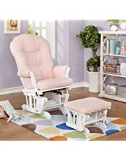 Lennox Furniture Glider Chair and Ottoman Set - White/Pickwick Pink