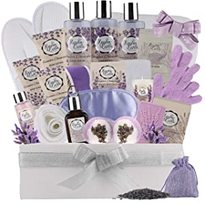 XL Spa Gift Basket for Women & Men. Complete Bath & Body Gift Set for Her & Him, Couple Basket! Exclusive Chamomile Lavender Spa Baskets Relaxation Gift Set! Pillow, Slippers etc in Wooden Bath Basket