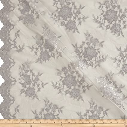 "IVORY 4/"" IMPORTED FRENCH RAYON EMBROIDERED BORDER LACE ON TULLE"