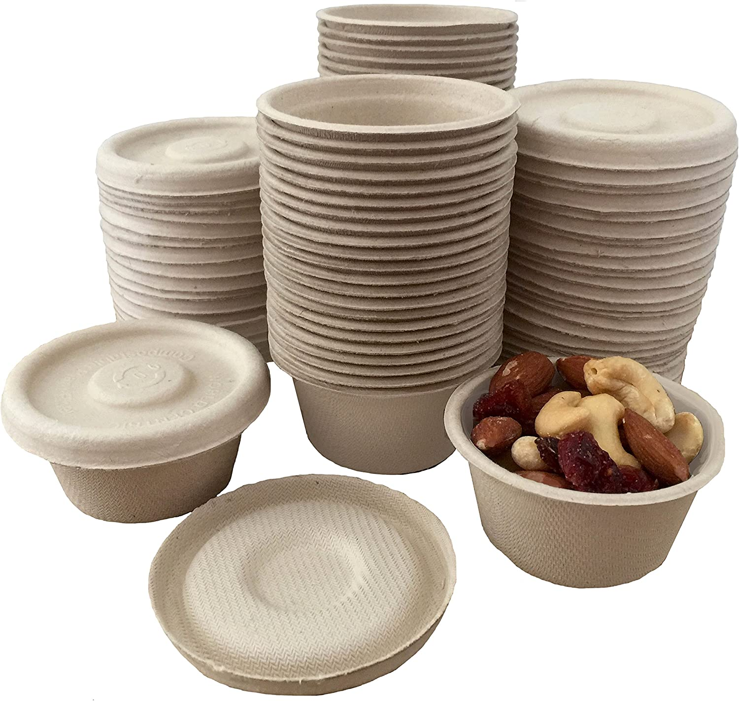 2 Ounce Souffle Cups and Lids - 100% Biodegradable and Compostable - Bagasse/Wheat Fiber - 50 Pack Outside the Box Papers Brand