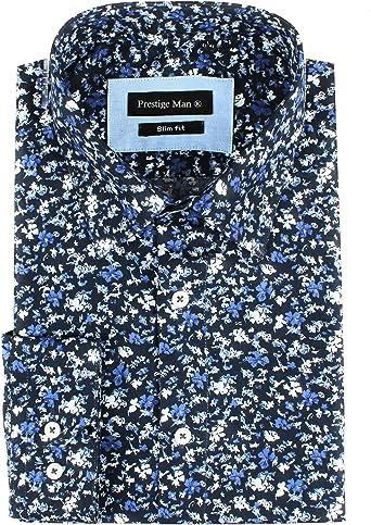 IRMAO Camisa para Hombre Flores Azul Marino Azul Marino 51/52 ...