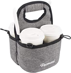 PACMAXI Drink Carrier for Delivery, Reusable Drink Holder for Take Out Office, Picnic, Beach and Outdoor Activities, Waterproof Cup Carrier Tote with Removable Dividers (4 Cups, Dark Grey)