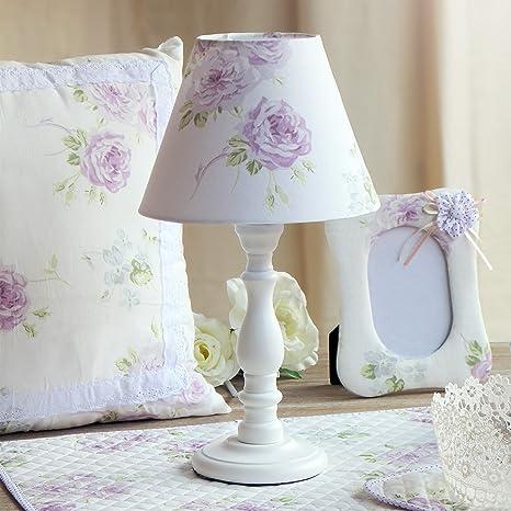 Lampada Da Tavolo Provenzale Shabby Chic Altezza 35 Cm Colore Bianco Amazon It Illuminazione