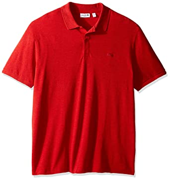 fba8f69584 Lacoste Men's Short Sleeve Garment Dyed Vintage Slim Fit Polo Shirt,  PH8984, Red,
