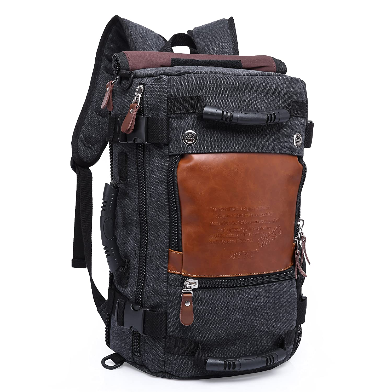 683f490a61 Witzman Mens Retro Canvas Duffle Travel Rucksack Backpack