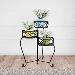 Pure Garden 50-LG1148 Plant Stand – 3-Tier Indoor or Outdoor Folding Wrought Iron Inspired Metal Home and Garden Display with Laser Cut Shelves (Black)