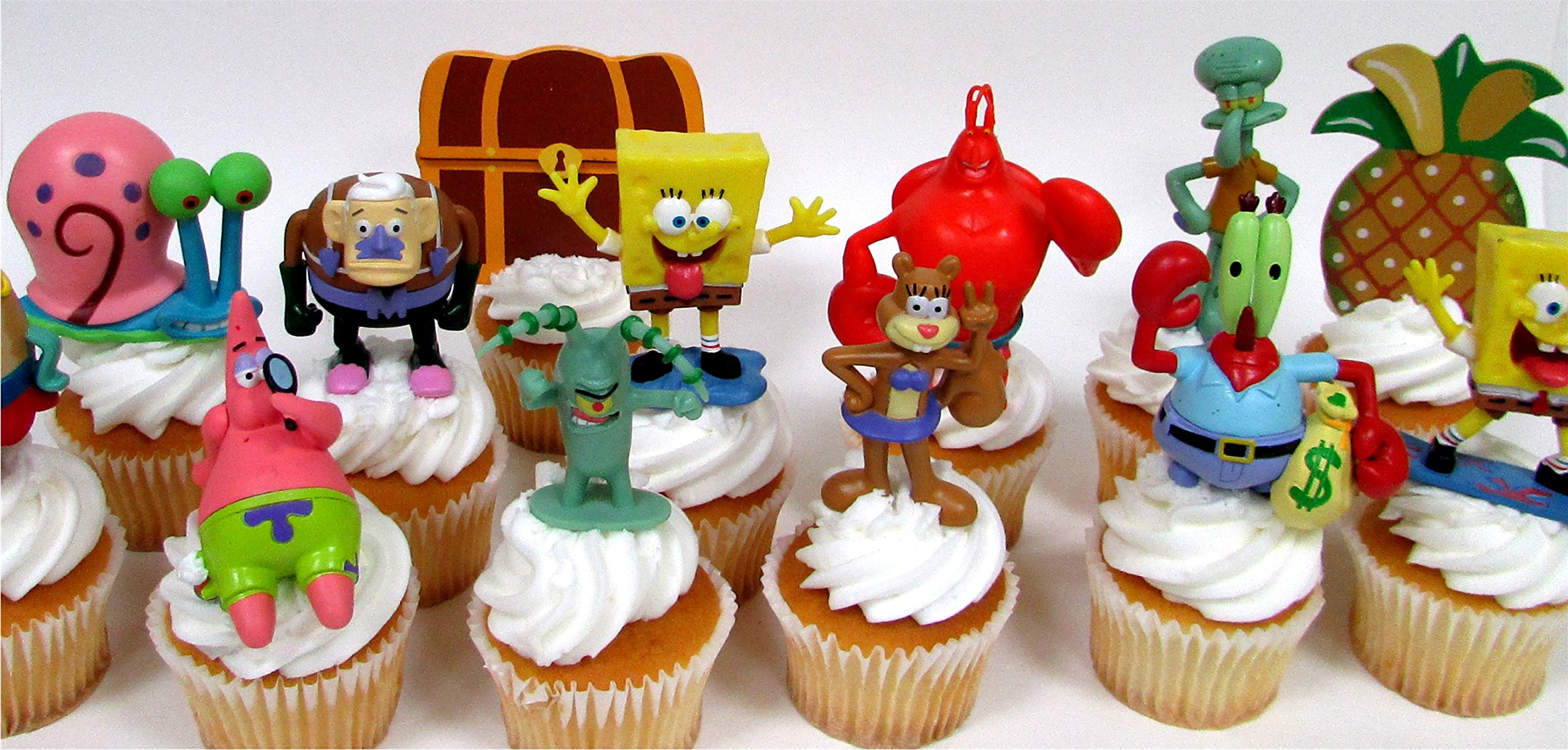 SPONGEBOB SQUAREPANTS 12 Piece CUPCAKE Topper Set Featuring 10 Random SpongeBob Figures and Themed Decorative Accessories, Figures Average 2'' to 3'' Inches Tall
