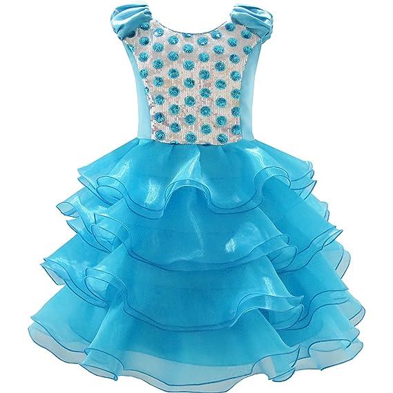 Sunny Fashion Vestido para niña Volantes Tul Escalonado ...