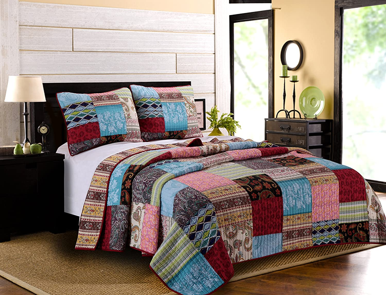 Greenland Home 3 Piece Bohemian Dream Quilt Set, Full/Queen