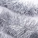 iPEGTOP 3 Pcs x 6.6ft Christmas Snowy Tinsel Garland, Classic Shiny Sparkly Party Soft Tinsel Christmas Tree Ceiling Hanging Decorations, 4 inch Wide - Silver