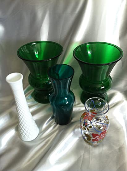Amazon 2 Napco Urn Vases Green Glass 1172 Plus 3 Various