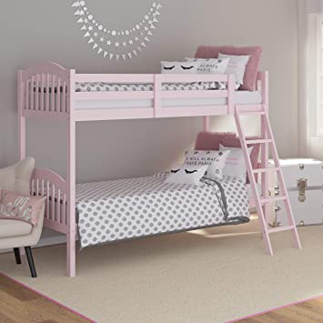 Amazon Com Storkcraft Long Horn Solid Hardwood Twin Bunk Bed Pink Twin Bunk Beds For Kids With Ladder And Safety Rail Baby