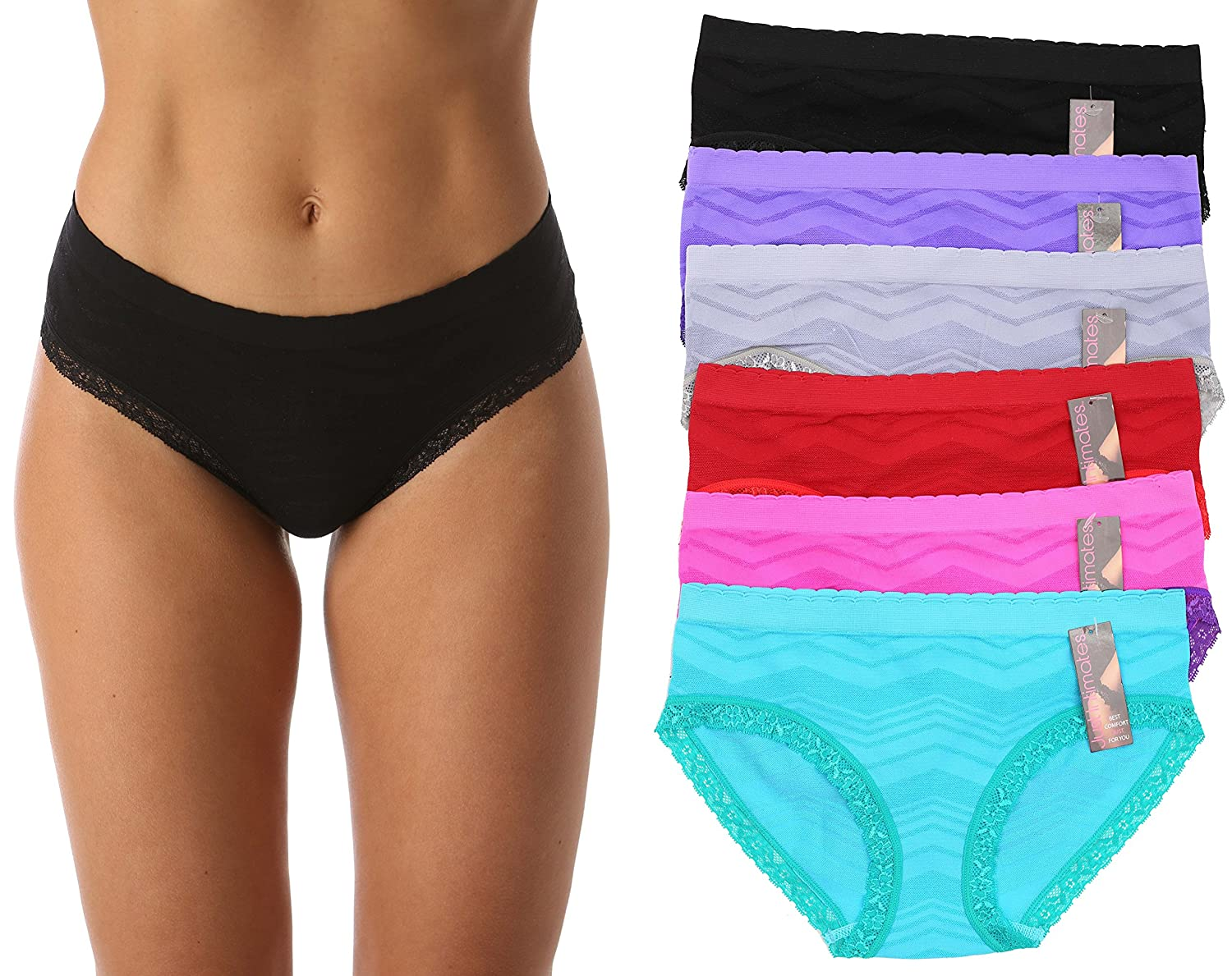 c4d9ec1ac464 Just Intimates Seamless Bikini Panties with Jacquard Fabric & Lace Detail  (6 Pack) at Amazon Women's Clothing store: