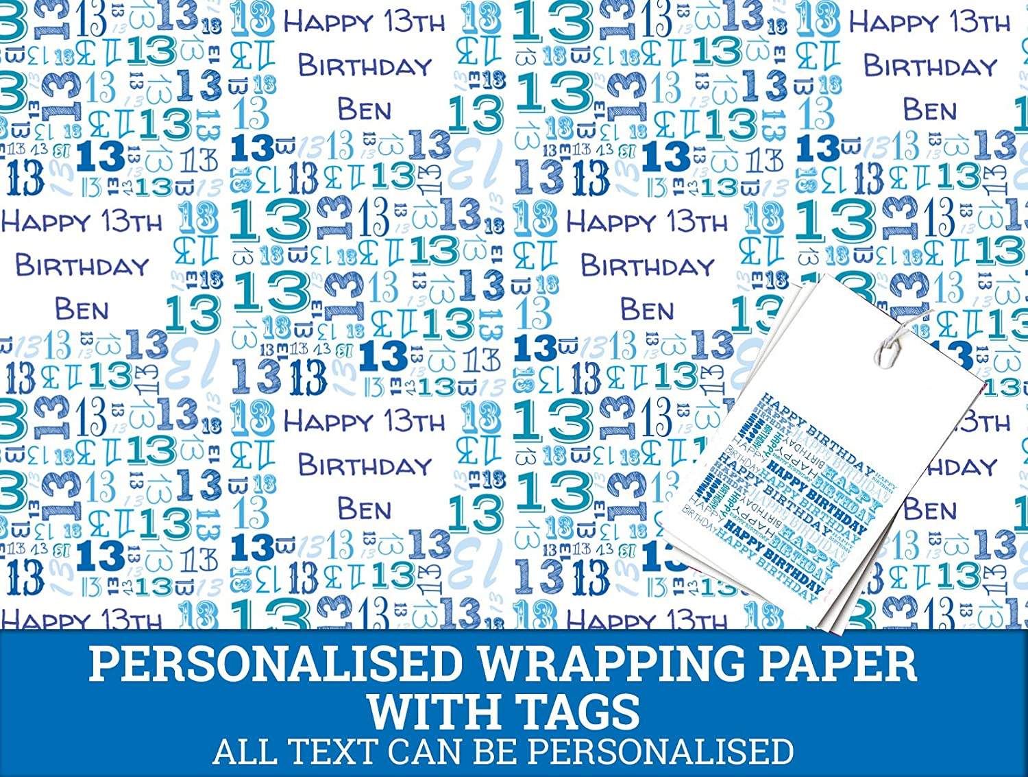 Blue Happy 13th Personalised Wrapping Paper - 590mm x 840mm Dom and Geri