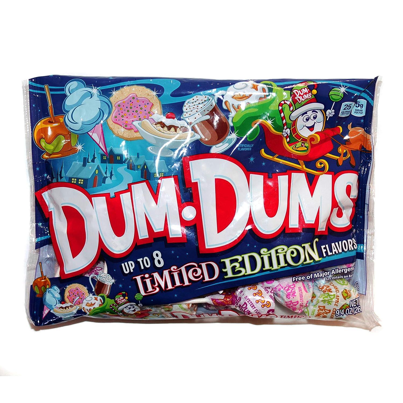 Spangler (1) Bag Dum-Dums Pops - Up To 8 Assorted Limited Edition Flavors - Holiday Lollipops - Free of Major Allergens - Net Wt. 10.4 oz