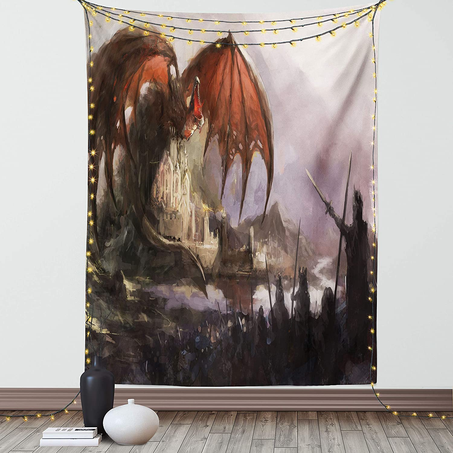 Lunarable Dragon Tapestry, Medieval Fantasy and Dark Knights Scene Fortress Castle Image, Fabric Wall Hanging Decor for Bedroom Living Room Dorm, 30