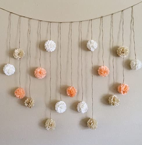 Amazon pom pom garland peach and creams tissue paper flowers pom pom garland peach and creams tissue paper flowers wedding garland diy kit party mightylinksfo
