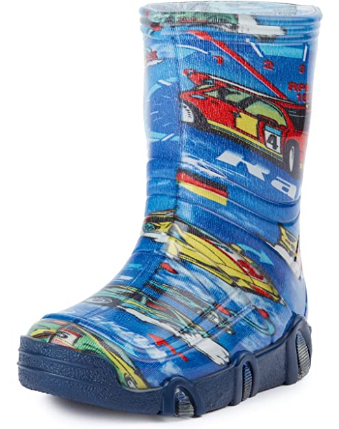 Ladeheid Botas de Agua Zapatos de Seguridad Calzado Unisex Niños SwkBW 03 (Azul Car,