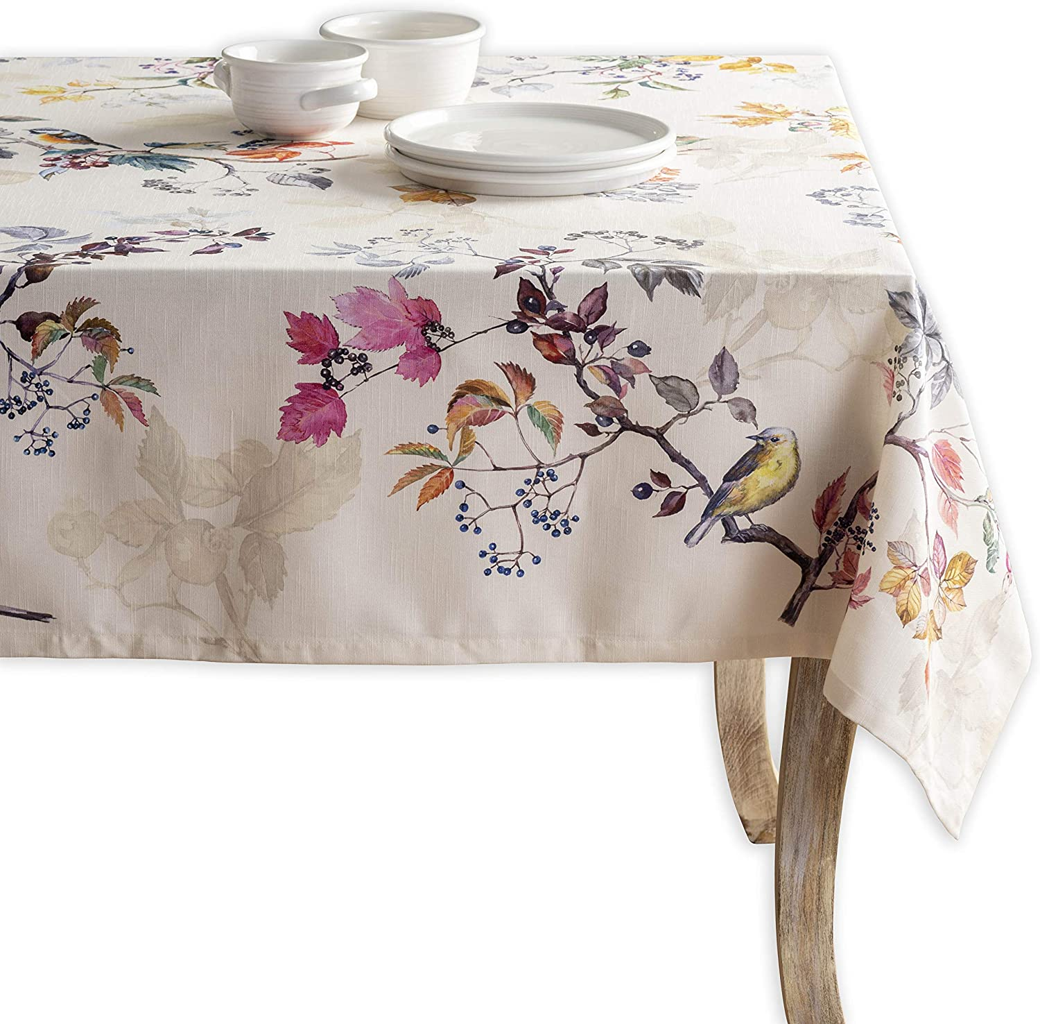 Maison d' Hermine Equinoxe 100% Cotton Beige Tablecloth 54 Inch by 54 Inch. Perfect for Thanksgiving and Christmas