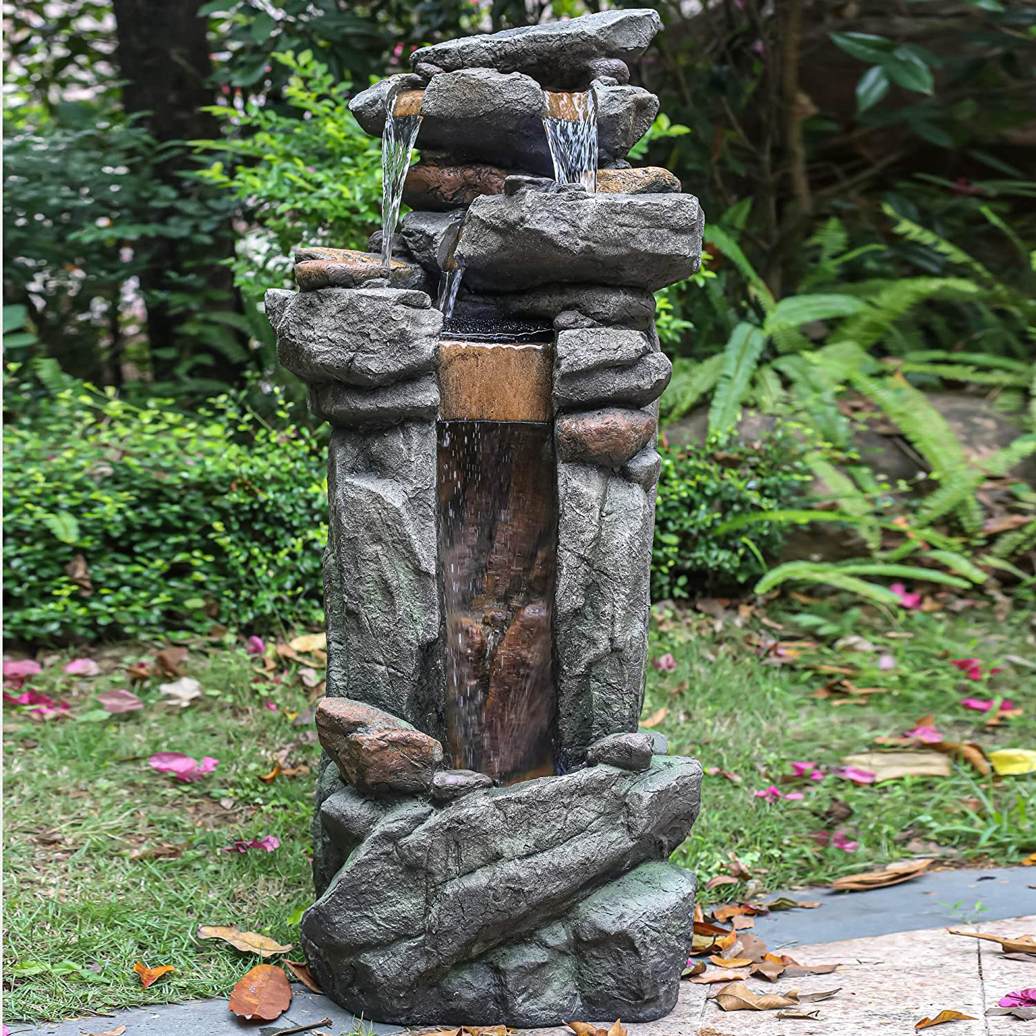 4-Tier Rock Fountain with White LED Lights /& Pump for Patio Yard Garden Lawn Knocbel Outdoor Floor Freestanding Waterfall Water Fountain Multicolor 18.9 L x 12.2 W x 42.13 H