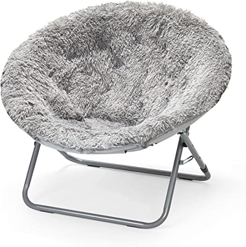 Urban Shop Oversized Mongolian Saucer Chair, Silver
