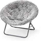 Urban Shop Oversized Mongolian Faux Fur Saucer Chair, Silver