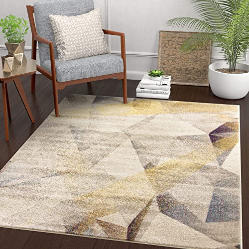 "Well Woven Barra Dusty Beige Yellow Multi-Color Modern Geometric Triangle Pattern Abstract 8x11 7'10"" x 10'6"" Area Rug Contemporary Thick Soft Plush"